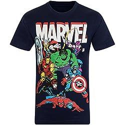 Marvel Comics - Camiseta oficial para niño - Con personajes de los cómics Hulk, Iron Man, Thor - Azul marino personajes - 3-4 años