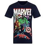 Marvel Comics - Camiseta Oficial para Hombre - con Personajes de los cómics - Azul Marino Personajes - Small
