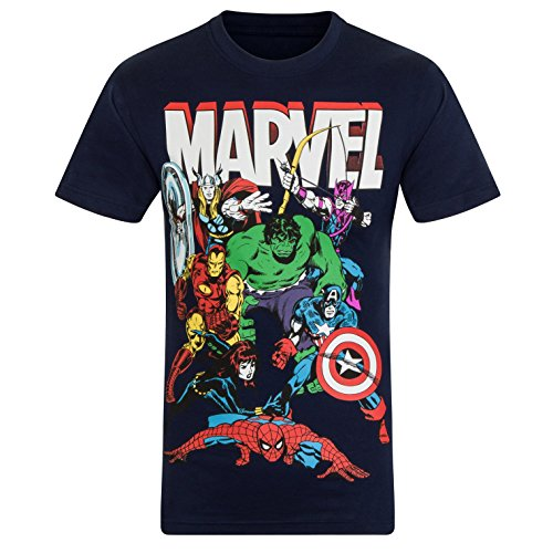 Design Kinder T-shirt (Marvel Comics - Jungen T-Shirt mit Charakteren wie Hulk, Iron Man & Thor - Offizielles Merchandise - Geschenk - Dunkelblau mit Figuren - 9-10Jahre)