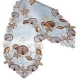 Tischdecke 30x160 cm oval Tischband MARITIM Muschel Seestern Gestickt Läufer Zierband