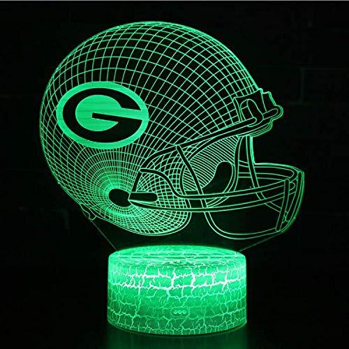 Optische Täuschung Lampe Fußball Helm Thema 3D Lampe LED Nachtlicht 7 Farbwechsel Touch Stimmung Lampe Riss Touch-Schalter