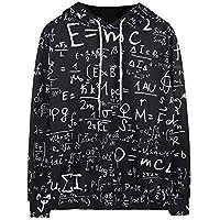 BAGBA Hombres y Mujeres de Navidad Amantes Sueltos Fórmulas matemáticas de Gran tamaño Suéter con Capucha Sudaderas con Capucha Suéteres Estilo suéter (Color : Negro, Tamaño : S)