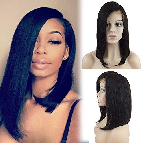 Perruque Bresilienne BOB Raie à Côté - Perruque Femme 100% Cheveux Humains Naturels Remy Raide - Lace Front Frontal Wig Naturel Human Hair (Densité: 130%, Longueur: 12\\