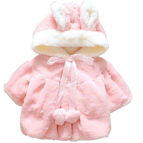 ARAUS-Baby Mädchen Winterjacke wintermantel warm Jacke Mantel Steppjacke mit Kapuze Baumwolle Felljacke Outerwear 0-4 Jahre alt pink 70 (Jacken 1 Für Alt Jahr)