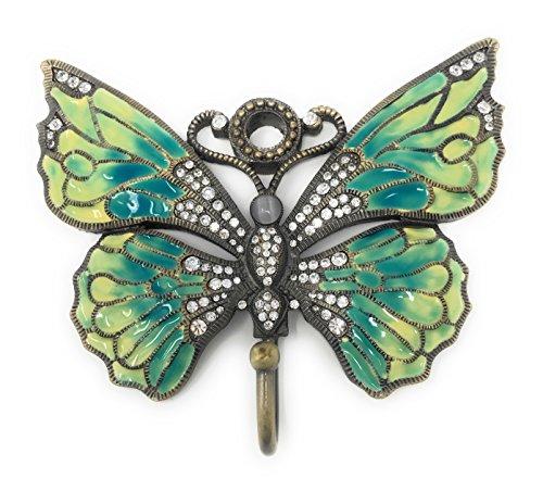 - und emailliert Zinn Schmetterling Wandhaken, aqua blau und gelb, mit österreichischen Kristallen, 5,25W