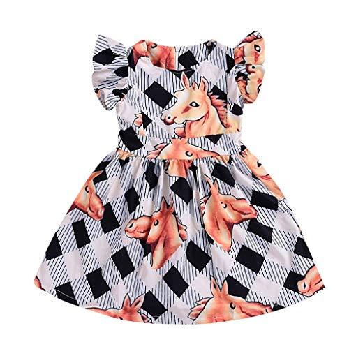 squarex Sommer Kinder Baby Kinder Mädchen Streifen Rock Horse Print Kleid Freizeit Prinzessin Kleid Flying Sleeve Rock Casual Dress