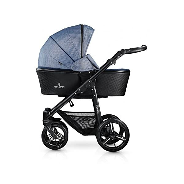 Venicci Shadow 3-in-1 Travel System - Midnight Blue - with Carrycot + Car Seat + Changing Bag + Apron + Raincover + Mosquito Net + 5-Point Harness and UV 50+ Fabric + Car Seat Adapters + Cup Holder Venicci 3 in 1 Travel System with included Group 0+ Car Seat Suitable for your baby from birth until 36 months 5-point harness to enhance the safety of your child 2