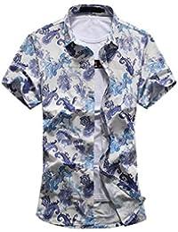 YuanDian Los nuevos Hombres Gran tamaño de camisa hawaiana de la flor camisa suelta de manga corta