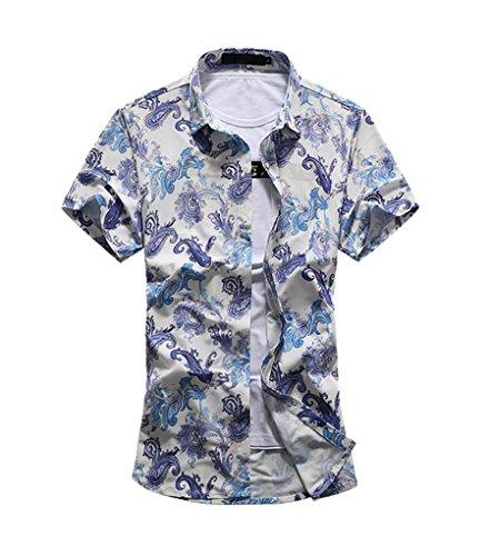 YuanDian Herren Blumen Drucken Hawaii Kurzarm Shirt Casual Lose Revers Strand T-Shirt Bleu 3XL (Reverse-hawaii-shirt)