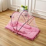 HJXJXJX Babybett Servietten, Falten Freie-Bett mit Kissen-Bett mit Bettdecken , pink