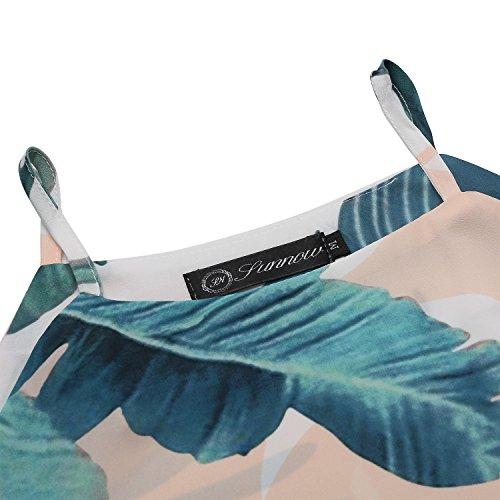 SUNNOW® NEU Damen Sommerkleid Strandkleid Oberteile Sexy beiläufig loses Blumen gedruckt ärmellos modisch Minikleid Frauen Partykleid Abendkleid Weiß 1