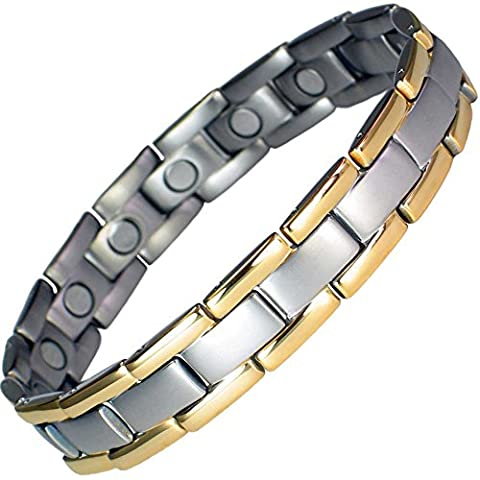 MPS® Titanium Magnetic Therapy Bracelet Two Tone + Free Link