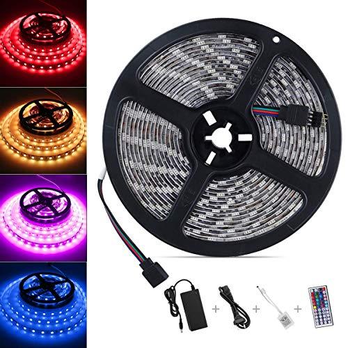 LED Strip 5M, Nasharia 300 LEDs Streifen Kit SMD 5050 RGB LED Lichtband mit 44 Tasten Fernbedienung IP65 Wasserdicht Selbstklebend für Weihnachten Heim Küche Auto Dekoration [Leim ist stärker]