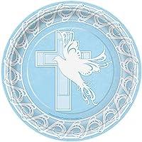 Platos de papel paloma Placas Cruz Bautismo Comunión Party Blue Boy 23cm 8 Unidad Paquete