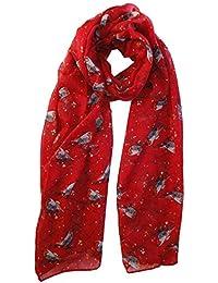 Winter Christmas Robin Bird Scarf in Red Animal Print Ladies Fashion Scarves