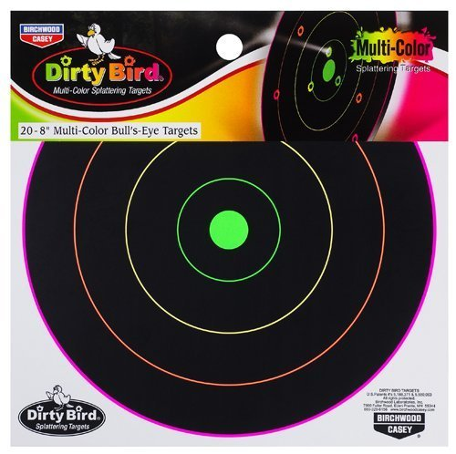 birchwood-casey-dirty-bird-multi-color-splattering-targets-8-target-pack-bull-eyes-non-adhesive-by-b