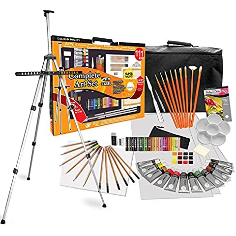 Daler Rowney - set completo de pintura 111 piezas yset de dibujo XXL con caballete, colores, lápices y lienzo