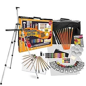 Daler Rowney - 111 pz. set pittura e disegno XXL completo - con cavalletto, colori, matite colorate, tela