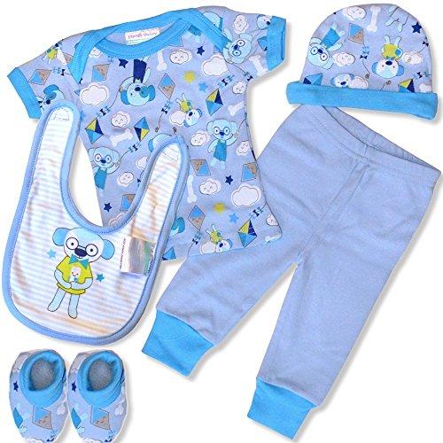 5 teiliges Babyset Honey Bunny Hemdchen Mütze Schuhe Motiv Bärchen Blau Geschenkset Baby 0-6 Monate in Geschenkpackung Bär Jungen