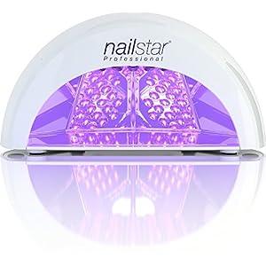 NailStar Lámpara LED Profesional Seca Esmalte de Uñas. Para Manicura Shellac y Gel, con Temporizador de 30 seg, 60 seg, 90 seg y 30 min (negro)
