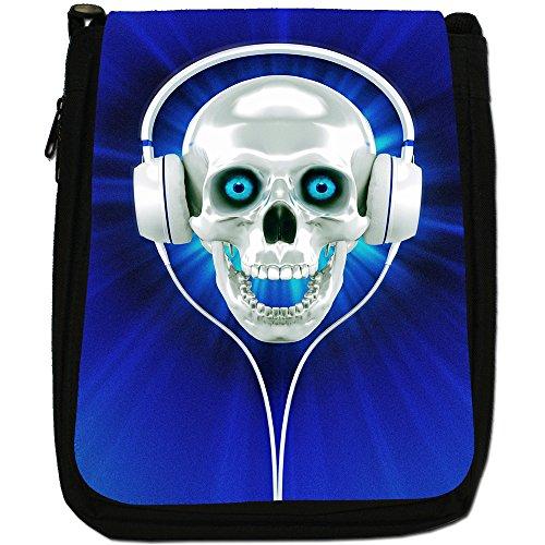 Con teschio con cuffie, colore: nero, Borsa a spalla in tela da uomo, taglia media Blue Skull With Headphones
