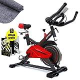 Sportstech Profi Indoor Cycle SX100 mit 13KG Schwungrad, Gepolsterter Armauflage, Komfortsattel, Pulsmessung - Speedbike mit flüsterleisem Riemenantrieb - inklusive gratis Bodenschutzmatte & eBook