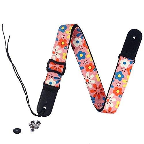 Fashion Bright color arcobaleno Djustable 100% cotone e tracolla in vera pelle tracolla per ukulele, D