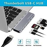 TJFOREVER USB C-Hub Adapter 3.1 mit Ladeanschluss Typ C 7 in 1 Dual Type-c Dockingstation Thunderbolt 3 Hub für 2016/2017 MacBook Pro mit 100W Stromversorgung, USB-c, 4K HDMI, 2xUSB 3.0, SD und microSD Kartenleser