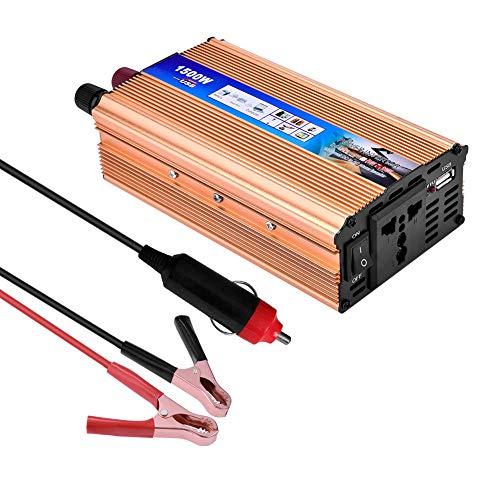 Inversor De Corriente,Lacyie Convertidor para Coche 650 1500W Onda Modificada 12V a 220V Transformador,2.1A Puerto USB,Cable de Encendedor de Cigarrillo para el automóvil y Pinza De Conexión A Batería
