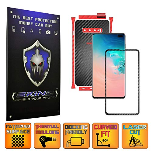 X-Skinz, Full Body Two Tone Schwarz/Rot Carbon Skin Schutzfolie, für Samsung Galaxy S10 + Plus - Displayrahmen + Rückseite Case Cover Hülle Sticker, Vinyl Wrap Aufkleber Panzerfolie - Dark Vinyl-akzenten