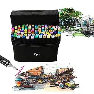 Paradise001 80 Farbige Marker Set Graffiti Stift Manga Sketch Pen, für Studenten Kunstler Design Schule Drawing Art Supplies (Schwarz)