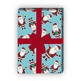 Süßes Weihnachtspapier/Geschenkpapier zu Weihnachten mit lustigen Weihnachtsmännern, hellblau türkis, für tolle Geschenk Verpackung und Überraschungen (4 Bogen, 32 x 48cm)