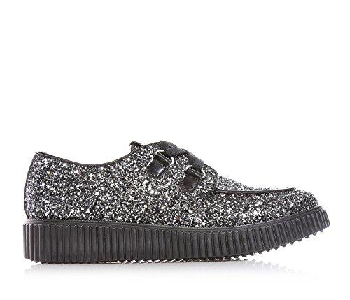 MISS GRANT - Chaussure argentée avec glitter, style élégant et chic, avec logo sur la languette, petit talon en cuir noir, lacets noirs, Fille, Filles, Femme, Femmes
