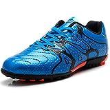 Tiebao Niños Difícil Suelo Artificial Velocidad PU Cuero Fútbol Zapatos (Azul, Niño pequeño EU33)