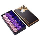 TININNA 1 Caja de 18 pcs Rose Jabón Flor de Regalo,Jabón de Baño de Fascinante Ramo de Rosas, Forma Bonita Jabón Rose Petal para decoración de la Boda-Gradiente - Púrpura