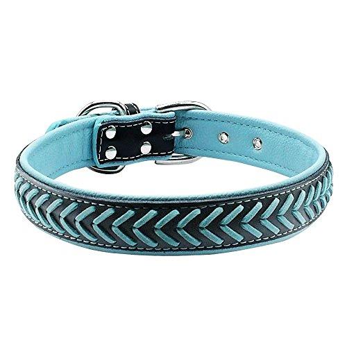 Fashion Geflochtenes Leder Halsbänder–weich gepolsterte Halsbänder–Qualität Leder Hunde Halsbänder für kleine medium Große Pet Rassen (Leder Medium Aus Hundehalsband)