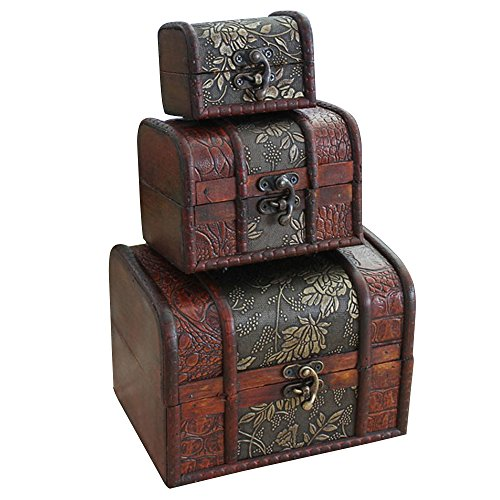 Contever® Boîte/Mallette/Coffret à Bijoux en Bois Antique Motif en Relief Fleur Organisateur de Rangement Paquet de 3