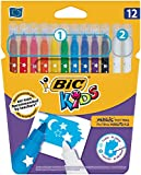 BIC Kids' Magic Erasable Felt Pens with Medium Nib - Assorted Colours, Pack of 12