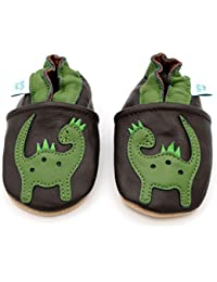 Dotty Fish Soft Leather Baby Shoes. 0-6 Months to 4-5 Years. with Dinosaur, Monkey, and Car and Space Rocket Designs. Boys and Girls. Non-Slip. Toddler Shoes.