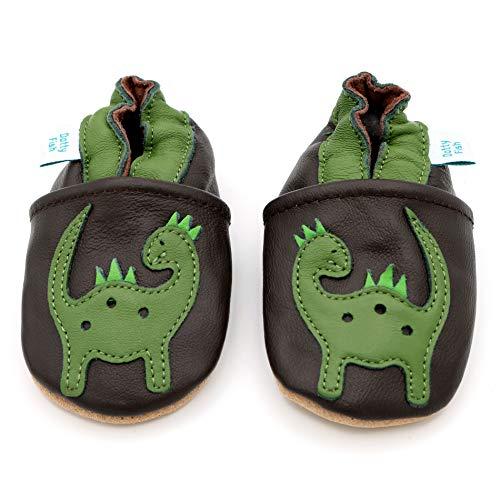 Dotty Fish weiche Leder Babyschuhe mit rutschfesten Wildledersohlen. 12-18 Monate (21 EU). Braune Schuhe mit grünem Dinosaurier Design. Jungen und Mädchen. Kleinkind Schuhe.