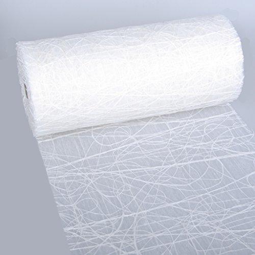 Dekoweb runner da tavola–nastro–bianco–30cm larghezza–15m lunghezza + 100gespiegelte decorazione cuori gratis–54–300–15–001