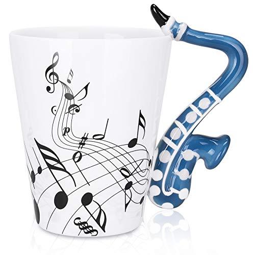 LanHong - 300 ml Saxophon-Tasse mit Musiknoten-Design, Kaffeetasse, Keramik, Musik, Saxophon, Geschenk für Freunde