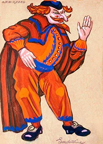 Vintage Ballett Serge Sudeikin Kostüm Design für pantelone aus petroushka von Strawinski in Metropolitan Opera 1924-25, 250gsm, glänzend, A3, vervielfältigtes Poster Der Vorderdeckel
