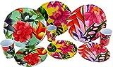 KOOPMAN Lot de 9 Assiettes en Plastique en mélamine Motif Fleurs Tropicales