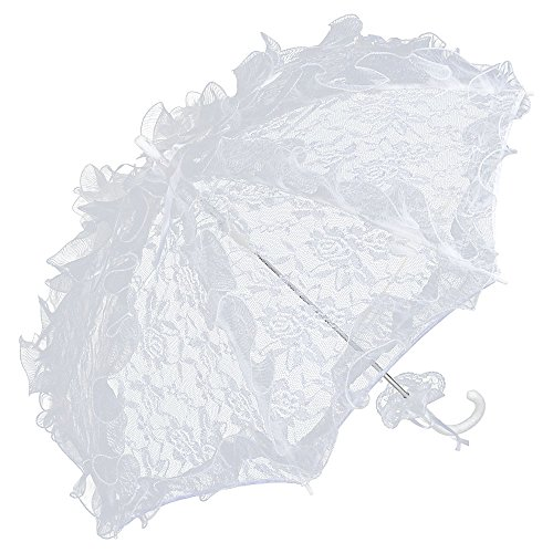 (VON LILIENFELD Spitzenschirm Damen Accessoire Brautschirm Hochzeitsschirm Automatik Désirée weiß)