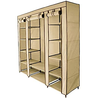 Canvas Fabric Wardrobe MAXI 150 x 45 x 175 cm with Hanging Rail and Zipper by BB Sport produced by BB Sport - quick delivery from UK.