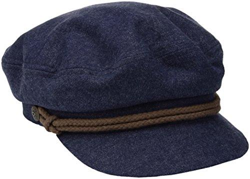 Brixton Fiddler Cap, Navy/Brown, 60 - Leder-motorrad-mütze