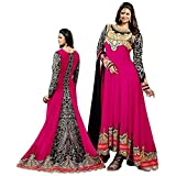 Trendigo FashionHub Women's Pink Georgette Designer Dress Material [SDM 11 (TF_C)]