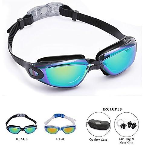Bezzee-Pro gafas de nado con estuche de protección y tapones de oídos gratis recomendadas para adultos – Protección UV- Lentes espejo, color - anti-niebla y anti-ruptura – sin filtraciones – sin deslumbramiento – visión clara - Azul /