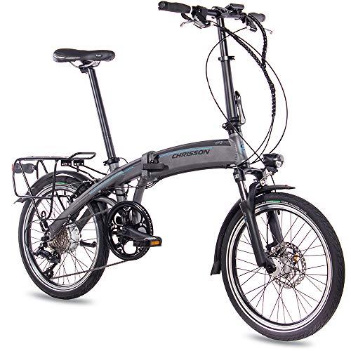 CHRISSON 20 Zoll E-Bike Klapprad EF2 grau matt - E-Faltrad mit Bafang Nabenmotor 250W, 36V, 30 Nm, Pedelec Faltrad für Damen und Herren, praktisches Elektro Klapprad